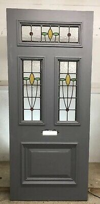 Lrge Victorian Stained Glass Front Door Period Old Reclaimed Antique Wood Primed
