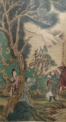 """Chinese Old Luo Pin Silk Scroll Painting Figures 83.86"""""""