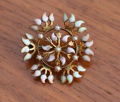Vintage / Antique 14K Yellow Gold Pearl and Enamel Brooch