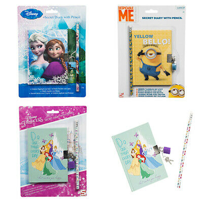 Disney Childrens Kids Girls Boys Pencil Lock And Keys Notebook Secret Diary