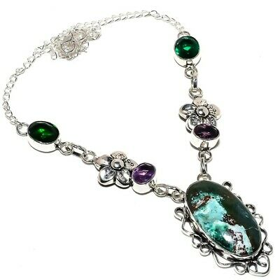 """Turquoise, Amethyst Ethnic 925 Sterling Silver Jewelry Necklace 18"""" 8384"""