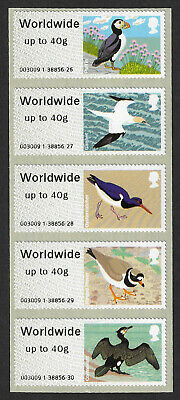 GB 2011 Birds of Britain IV Post and Go Worldwide up to 40g stamps x 5 - SG FS26