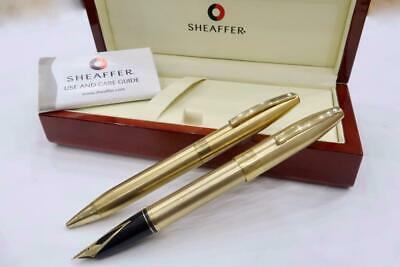 MINTY BOXED SHEAFFER IMPERIAL BRUSH GOLD PLATE FOUNTAIN PEN & BALLPOINT C1980's