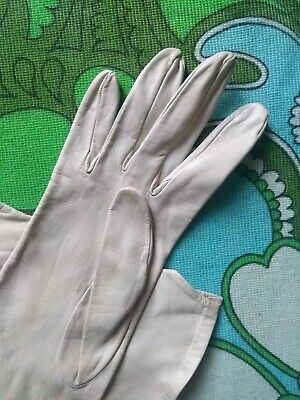 *Ladies 30'S/40'S Ivory/Cream Fine Leather Gloves, Size 6.5/7 Superb Quality*