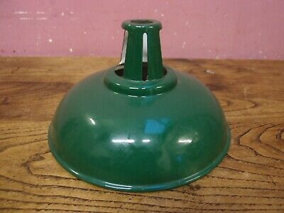 Antique French Circular Green & White Stove Enamelled Office Factory Lampshade