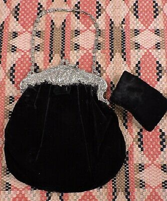 Antique Victorian 19Th C Black Silk Velvet Purse W Ornate Frame And Chain