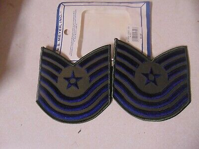 MILITARY PATCH US AIR FORCE E8 SEN MASTER SERGEANT RANK SET OF 2  NEW OLD STOCK