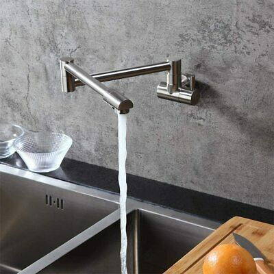 Brushed Nickel Pot Filler Kitchen Faucet 2Handle Swivel Spout Mix Tap Wall Mount