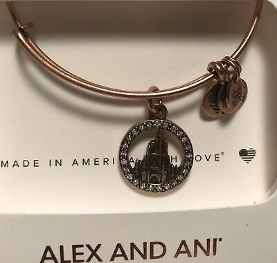 Disney Parks Alex & And Ani Rose Gold Cinderella Castle With Crystals Bracelet