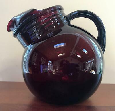 Vintage ANCHOR HOCKING Tilt Ball PITCHER Depression Glass ROYAL RUBY RED