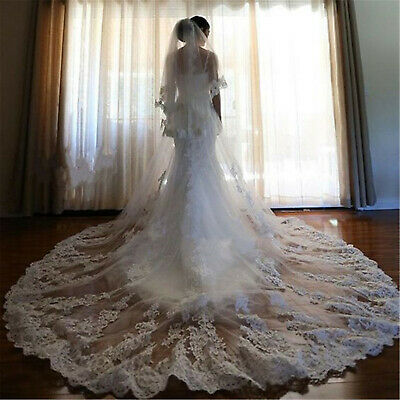 Cathedral Length Long Wedding Veils With Comb White Ivory Bridal Accessories 2 T