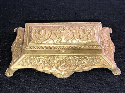Antique French Art Nouveau Ornate Bronze Brass Stamp Holder 1900