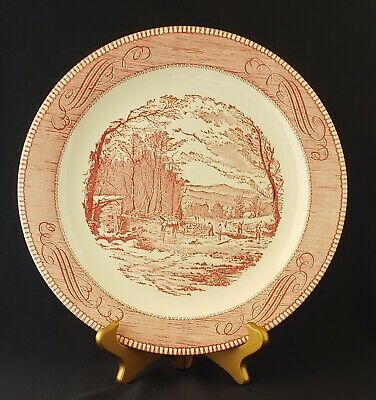 "Pink Currier and Ives ""Getting Ice"" Royal China Chop Plate 12 1/4"""