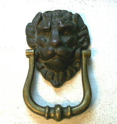 Heavy Bronze Plated under Brass Lion Door Knocker Door Knocker  1890s - 1910s