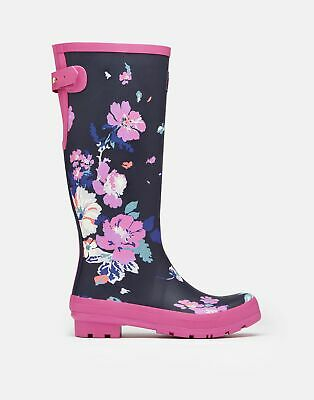 Joules 209702 Tall Height Printed Wellie Boots - NAVY FLORAL