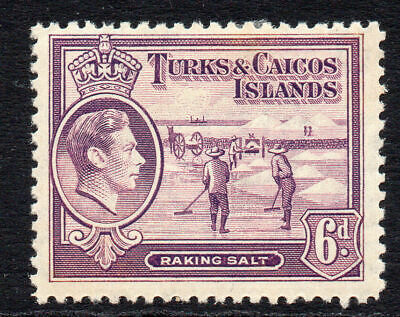 Turks & Caicos Islands 6d Stamp c1938-45 Mounted Mint (tiny gum tone)