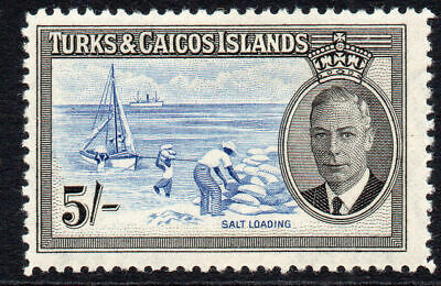 Turks & Caicos Islands 5/- Stamp c1950 Mounted Mint