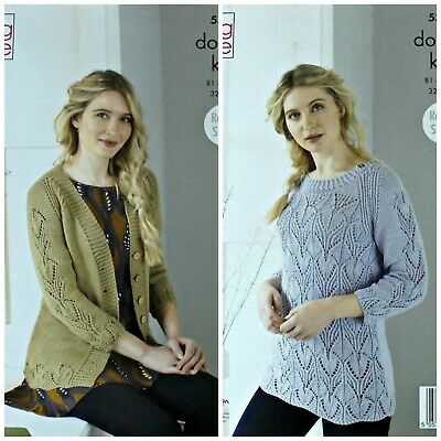 KNITTING PATTERN Ladies Lace Front Jumper /& Cardigan DK King Cole 4077