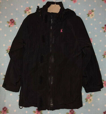Girls Black Raincoat Coat With Pink Bunny Logo From joules Age 3