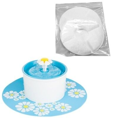 2*Flower Style Filter Fountain Pet For Automatic Cat Dog Water Drinking W8H