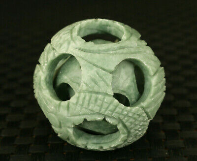 Chinese old jade hand-carved interlink ball statue netsuke table home decoration