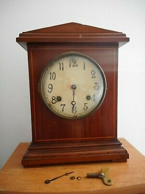 Vintage / Antique Wood Cased Mantel Clock With Pendulum & Key
