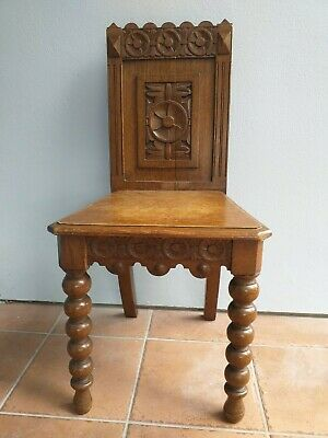 Victorian HALL oak CHAIR carved seat bobbin legs wooden carving detail ANTIQUE