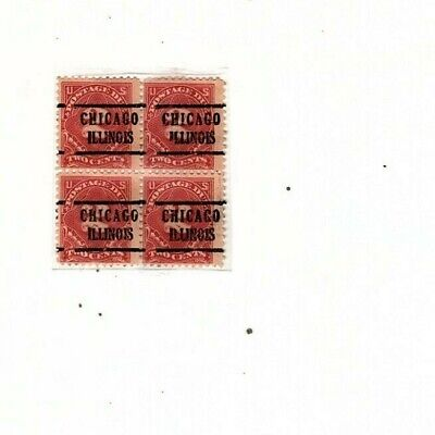 ERROR Overprint miss cut Precancel  revenue block of 4 Chicago Illinois (mb11