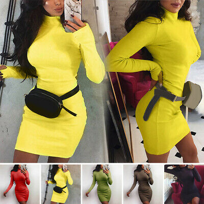 Womens Sexy Long Sleeve Turtleneck Mini Dress Bodycon Party Prom Sweater Dresses