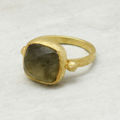 22k Yellow Gold Plated Labradorite Gemstone Ring Size 8 US and Weight 4.6 gm