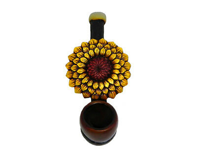 Yellow Sunflower Handmade Tobacco Smoking Mini Hand Pipe Spring Flower Plant Art