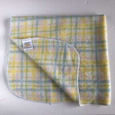 Martha Stewart Baby Blanket Plaid Yellow Blue Green Pink Striped Receiving 27x30