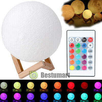 3D Moon Lamp Moonlight USB LED Night Lunar Light Touch Color Changing w/Remote