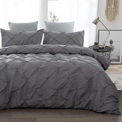 3 Piece Pinch Pleated Duvet Cover Double Size Soft Microfiber Pintuck Quilt with