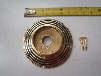 A Cast Brass Ringed / Antique Style Door Knob Back Plate Rim Lock 60 Mm Diameter
