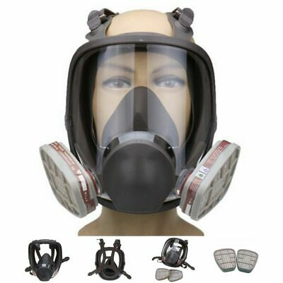 Full Face Gas Mask Silicone Respirator Painting Spraying Protective Facepiece