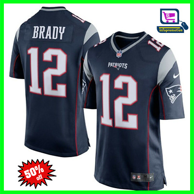 #12 Tom Brady Men's New England Patriots Navy Blue/Silver Game Jersey