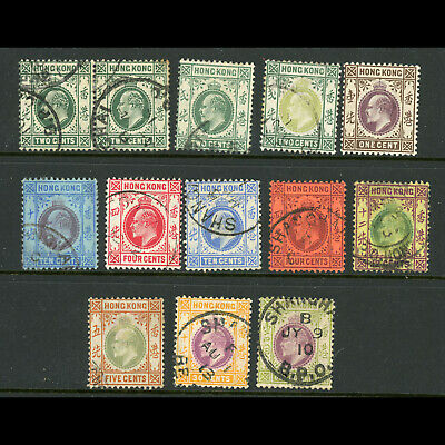 HONG KONG 1903-11 K.E. VII Selection. 13 Values. Condition Varies. (WD237)