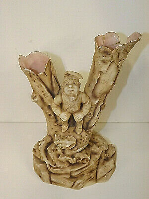 Art Nouveau Alfred Stellmacher Gnome Tree Trunk Vase A/F please see main listing