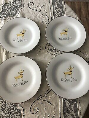 "Pottery Barn Reindeer RUDOLPH 11 1/8"" Dinner Plates - Set Of 4"