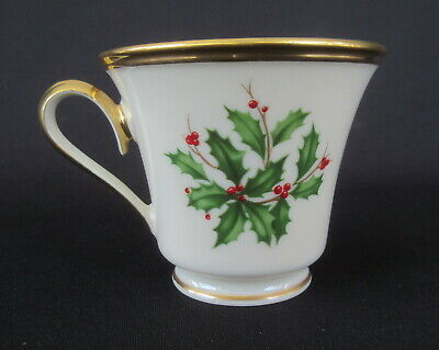 """Lenox """"Holiday Dimension"""" China Holly and Berries Footed Cup Only  24k Gold Trim"""