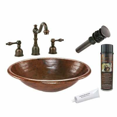 Handmade Widespread Oval Hammered Copper-Surface Faucet  Medium