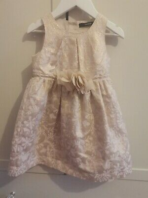 Girls Beautiful Cream & Gold Christmas Party Dress 18-24 Months By George