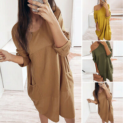 Ladies Dress Women Beach Summer Loose Pullover Dress Fashion Party Autumn