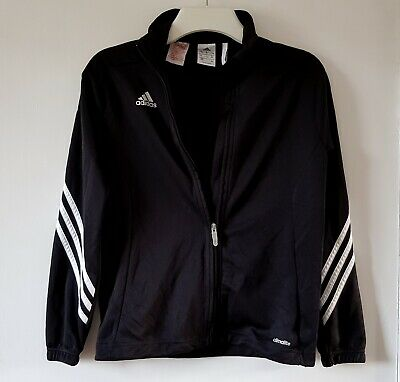 New - Adidas - Tracksuit Top: Black Climalite Zip Front Sports: 11 - 12 Years
