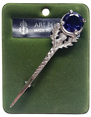 Art Pewter Large Gem Amethyst Thistle Kilt Pin - Made In Scotland