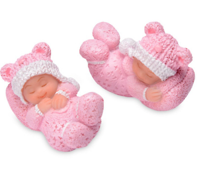 2 Small Sleeping White Baby Girl Christening Baby Shower Cake Topper Decoration