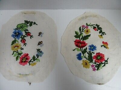 2 Finished Crewel Embroidery Oval Floral Wild Flowers Bees Butterfly 6.5x8.5""