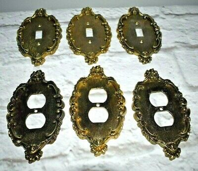 Lot of 6 Vernon Switch Plate Outlet Covers Scroll Heart Design Hollywood Regency