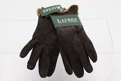 Ralph Lauren Womens Gloves Brown Beige Tan Leather XL NWT